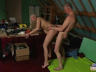 Big tits cutie tempting shy grandpa with..
