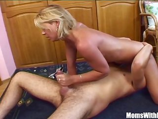 Blonde Stepmom Spreading For Her Stepson