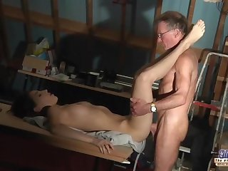Older men anal fucking young blonde girl..