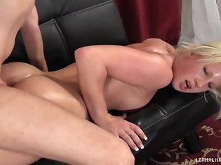 Blonde Pornstar Kimmy Olsen gets massage..