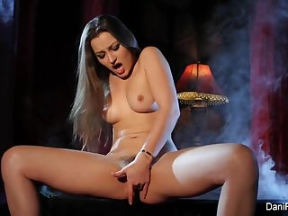 Smoking hot solo scene with brunette..