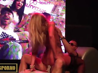 Hot blonde strip and blowjob on stage